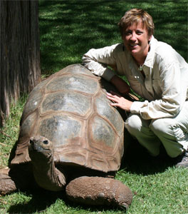Brenda Fishbaugh with turtle africa