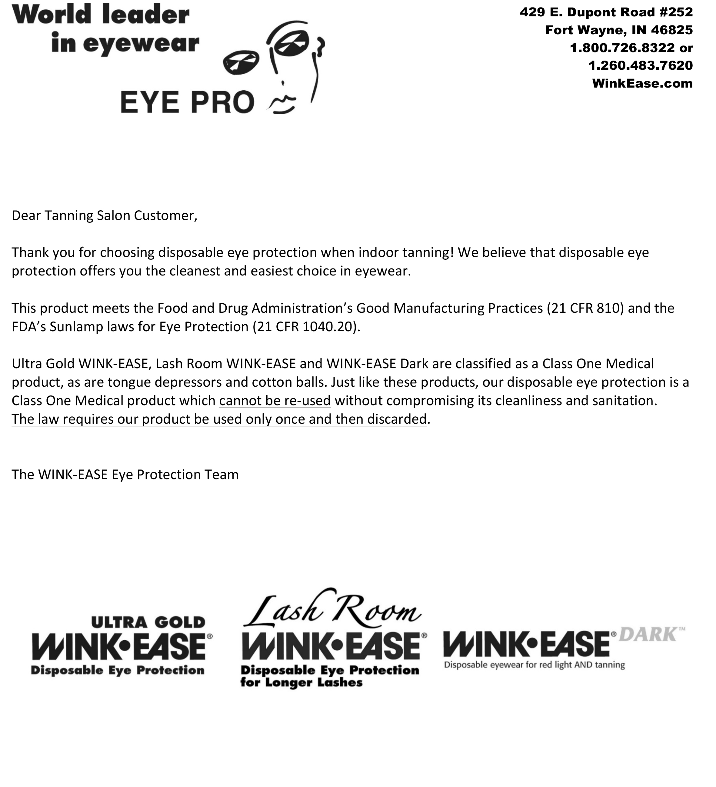 For salon owners eye pro inc february 2017 eye pro inc world leader in disposable eye protection for indoor tanning and makers of ultra gold wink ease lash room wink ease and madrichimfo Images