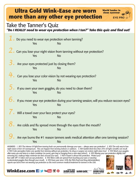 Wink-Ease Offers FREE Tanner's Quiz to Help Educate Your Staff and